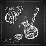 Old Cezve ,cup, coffee beans. Hand drawn Vector Illustration Royalty Free Stock Images