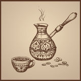 Old Cezve ,cup, coffee beans. Hand drawn Vector Illustration Royalty Free Stock Photos