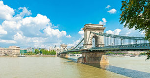 Old Chain Bridge in Budapest Stock Image