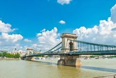 Old Chain Bridge in Budapest Royalty Free Stock Photos