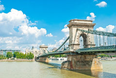 Old Chain Bridge in Budapest Royalty Free Stock Photography