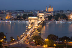 Old Chain Bridge and the city of Budapest Stock Image