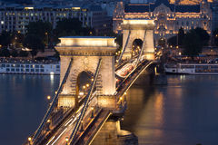 Old Chain Bridge and the city of Budapest Stock Photography