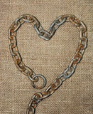 Old chain heart  with jute cloth Royalty Free Stock Image