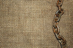 Old chain with jute cloth Stock Photos