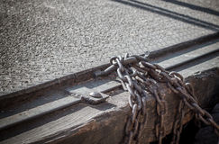 Old chain and metal sheet floor , selective focus and shallow de Royalty Free Stock Image