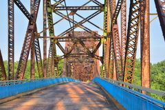 Chain of Rocks bridge on the Mississippi river. stock photo