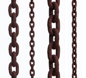 Old chain. With rust over a white background stock image