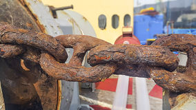 Old Chain rusty. An Old Chains on a rusty in ship repair Royalty Free Stock Image