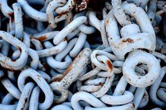 Old chains with rusty at the harbour. Stock Image