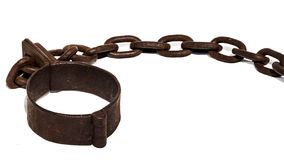 Old chains, or shackles with foot cuff. Old chains, or shackles, used for locking up prisoners or slaves between 1600 and 1800 Royalty Free Stock Image