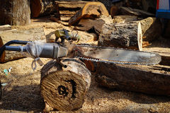 Old chainsaw stands in timber Stock Photos