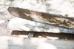 Old chainsaw with stump Stock Images