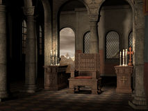Old chair in a church. Old chair in a medieval church with candles Stock Photos