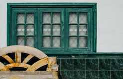 Old Chair Furniture with Green Window Interior Royalty Free Stock Photos