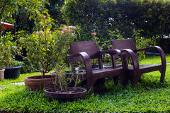 Old Chair on Garden home. Thailand Royalty Free Stock Images