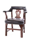 Old chair leather upholstery. Old dining chair with leather upholstery Royalty Free Stock Image