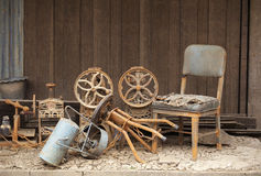 Old chair and old wall Stock Photography