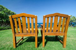 Old chairs on the northern end of Kaunaoa beach Royalty Free Stock Image