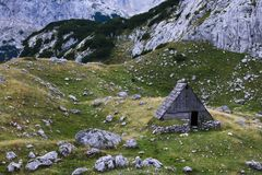 An old chalet in the mountains of Montenegro stock images
