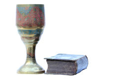 Old Chalice and Bible Stock Photo
