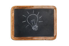 Old chalkboard with lightbulb drawing. Small old distressed black chalkboard with a wooden frame and with a lightbulb drawn in white chalk. Isolated on a white Royalty Free Stock Photo