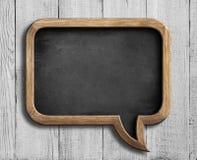Old chalkboard in shape of speech bubble on white Stock Photo