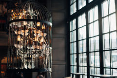 Old chandelier with cobwebs. Against the background of a large window Stock Images