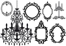 Old chandelier and picture frames Royalty Free Stock Photo
