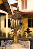 An old chandelier. Rusty and goldy take outdoor Royalty Free Stock Photography