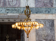 Old chandelier under the dome of Hagia Sophia Stock Photography