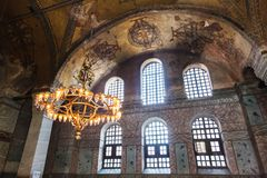 Old chandelier under the dome of Hagia Sophia Royalty Free Stock Photos