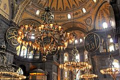 Old chandeliers in Hagia Sophia basilica, Istanbul, Turkey Stock Images