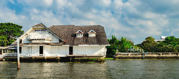 Old Chao Phraya River Thai traditional house Royalty Free Stock Photos