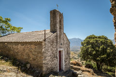 Old chapel in abandoned village of Casenove in Corsica Stock Photos
