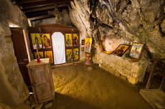Old chapel in Agia Sofia cave, Crete, Greece Royalty Free Stock Images