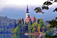 Old chapel on Bled lake Stock Photo