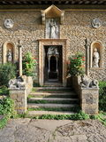 Old Chapel Building. Exterior View and Entrance of a Beautiful old Christian Chapel Building Stock Photo
