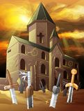 Old chapel of dawn with swords on desert. vector illustration