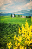 The old chapel on the fields of Tuscany, Italy Royalty Free Stock Images