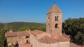 Old chapel in the forest in Spain. Santa Coloma de Fitor. Costa Brava stock footage