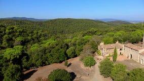 Old chapel in the forest in Spain. Santa Coloma de Fitor. Costa Brava stock video
