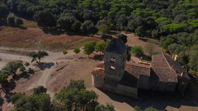 Old chapel in the forest in Spain. Santa Coloma de Fitor. Costa Brava stock video footage
