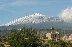 Old Chapel And Volcano Etna Royalty Free Stock Image