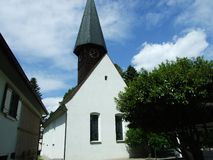 Old chapel with a wooden bell tower in Kreuzlingen. Canton of Thurgau, Switzerland stock image