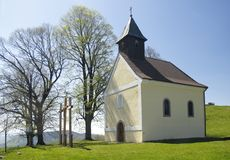 Old chappel above Kremnica stock photo
