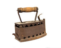 Old charcoal iron. On white Royalty Free Stock Photography