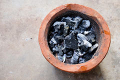 Old charcoal stove with charcoal ignited Stock Photo