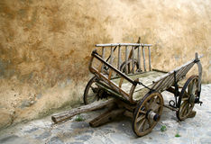 Old chariot. Old wooden cart in ghosttown Stock Images