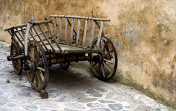 Old chariot. Old wood chariot in a town Royalty Free Stock Images